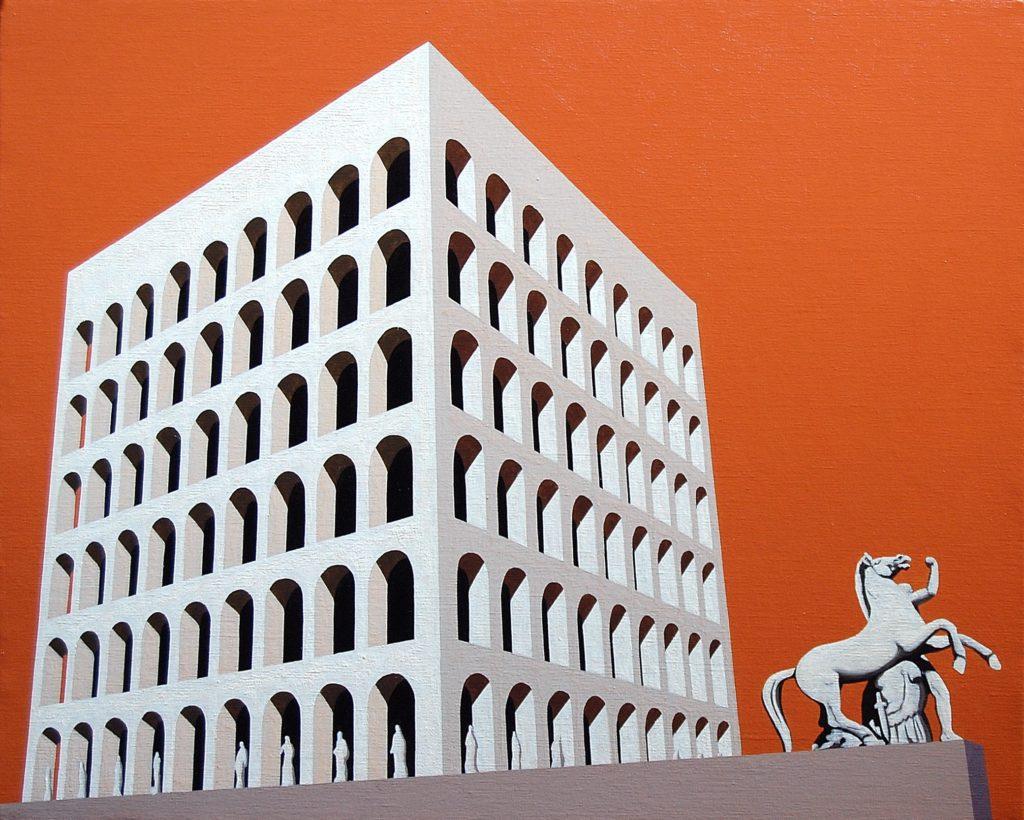 Colosseo Quadrato 2015 olio su tela cm 40x50