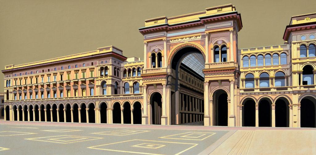 Galleria Vittorio Emanuele II olio su tela cm 40x80