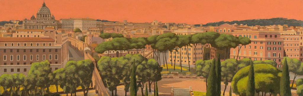 Giardini romani 2017 olio su tela cm 30x96