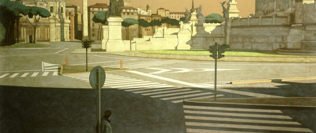 In ombra 2001 olio su tela cm 110x260
