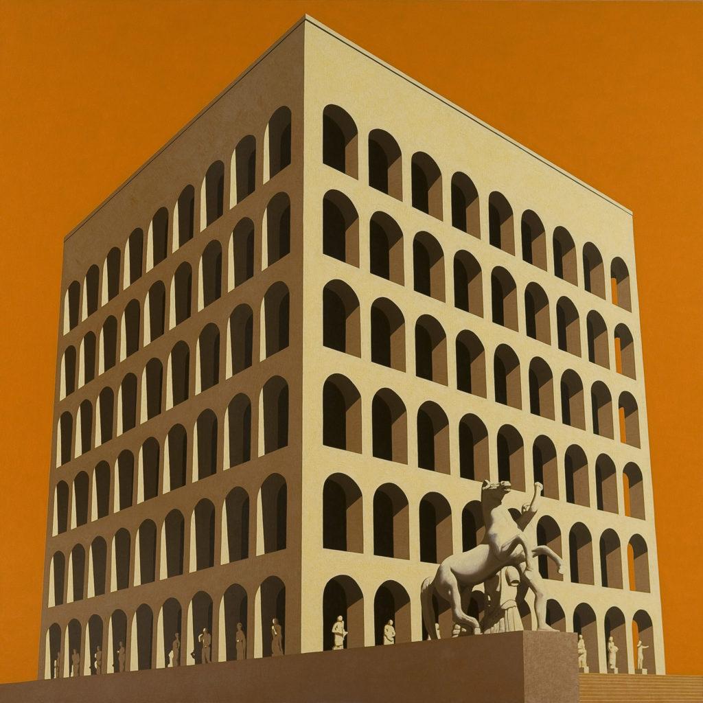 Palazzo della Civiltà 2011 olio su tela cm 150x150
