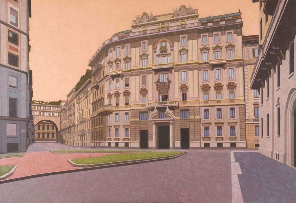 Piazza Eleonora Duse 2006 olio su tela cm 150x220