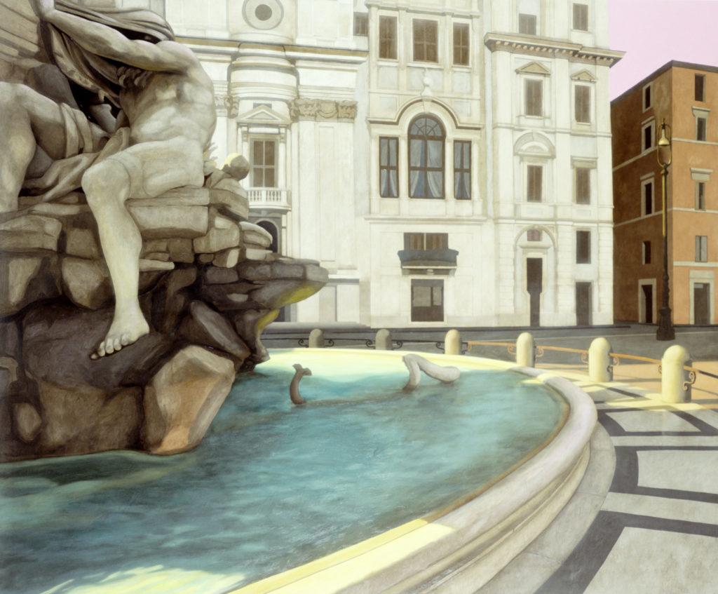 Piazza Navona 2004 olio su tela cm 150x180