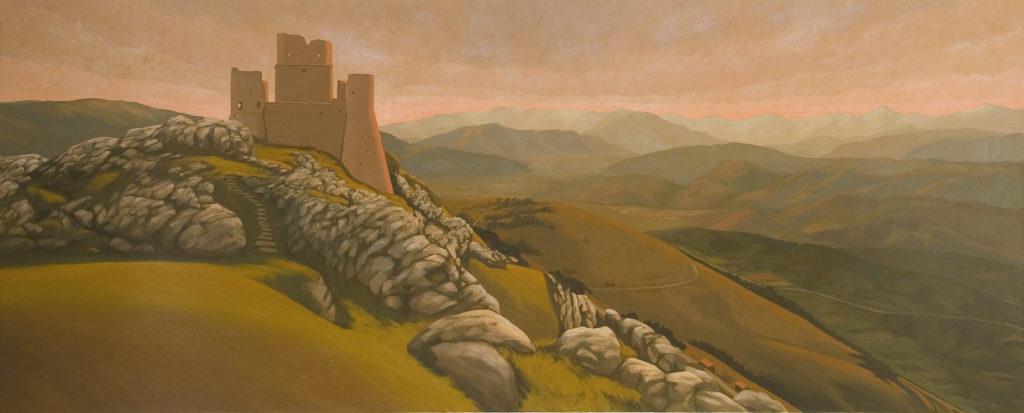 Rocca Calascio 2007 olio su tela cm  80x200