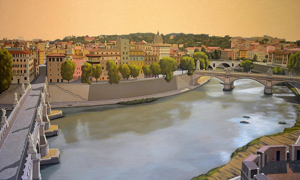 Roma da Castel Sant'Angelo 2014 olio su tela cm 120x200