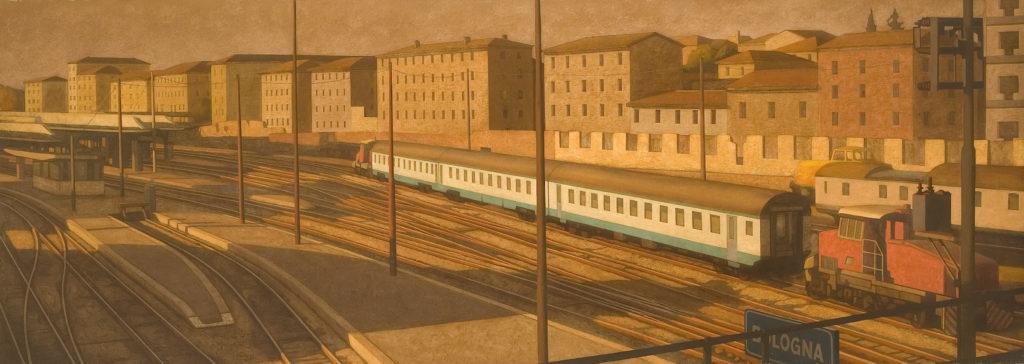 Stazione di Bologna 2004 olio su tela cm 90x260